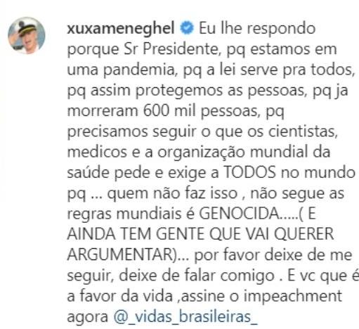 """Xuxa: """"você que é favor da vida, assine o impeachment"""" e chama Bolsonaro de 'genocida'"""