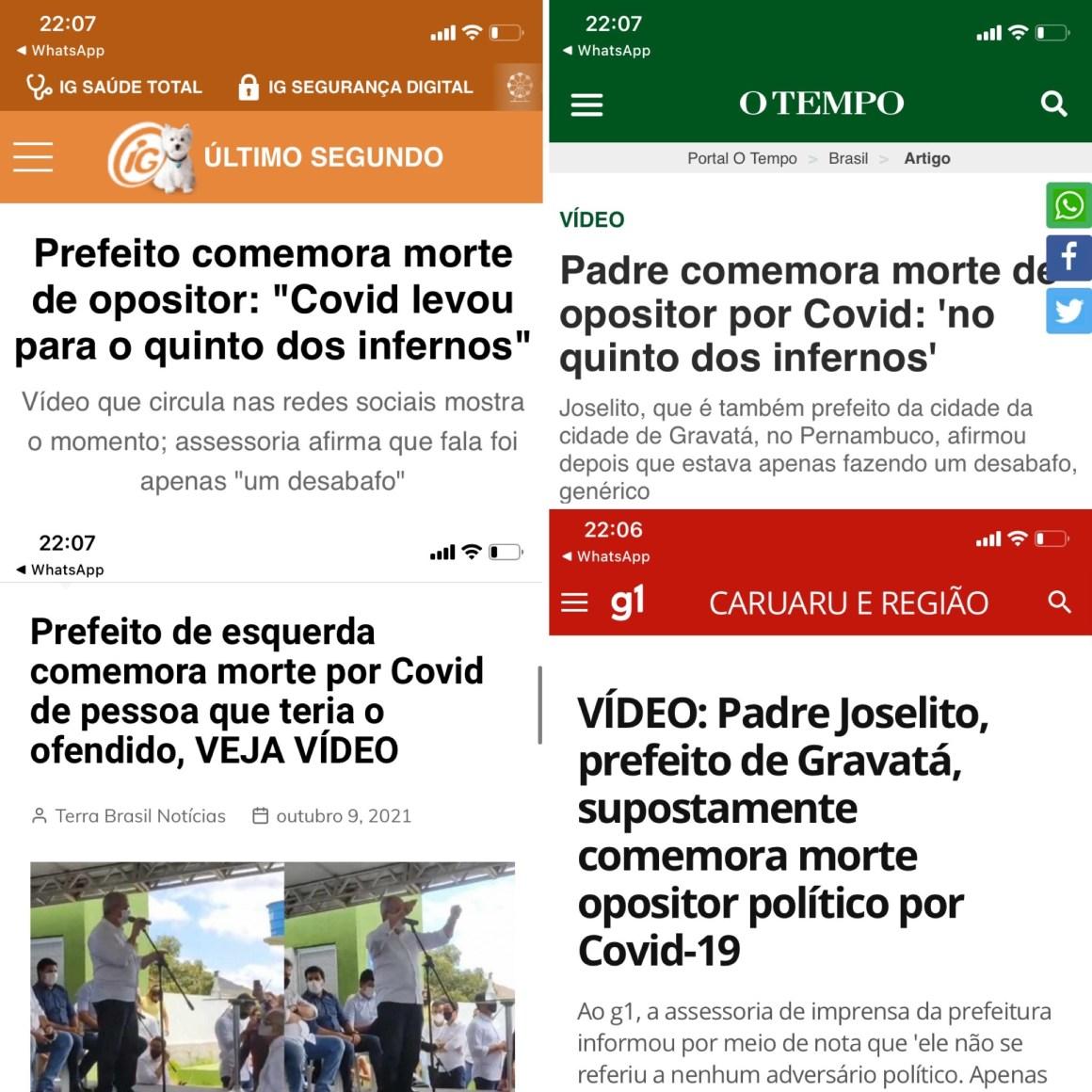Mais blogs e jornais repercutem infeliz fala do prefeito de Gravatá sobre homem que morreu de COVID está no inferno